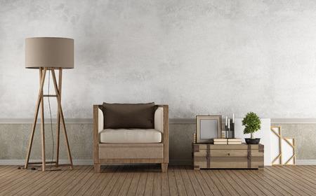 ヴィンテージ リビング ルーム床 3 D レンダリングでは木製の肘掛け椅子と装飾オブジェクト