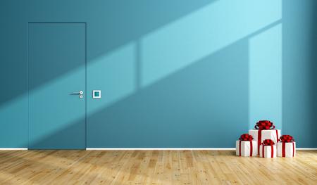 puertas de madera: habitación azul con el regalo de navidad en el piso de madera y puerta cerrada - 3d prestación
