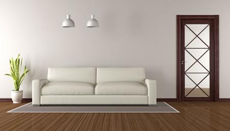 Elegante sala de estar con puerta de cristal madera y un sofá blanco - representación 3d Foto de archivo - 63247359