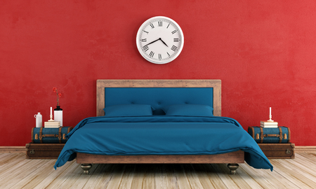 old furniture: Vintage master bedroom with blue bed and red old wall - 3d rendering