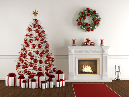 xmas tree: Christmas interior with classic fireplace,xmas tree,present and wreath - 3d Rendering Stock Photo