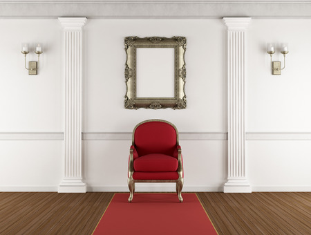 pilaster: White classic living room with red armchair, pilaster and blank golden frame on wall - 3d rendering