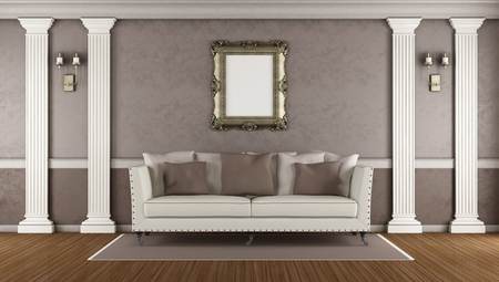 pilaster: Brown classic living room with elegant sofa ,white pilaster and golden frame - 3d rendering