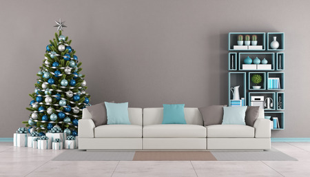 contemporary living room: Contemporary Living room with christmas tree,sofa and bookcase on wall - 3d rendering
