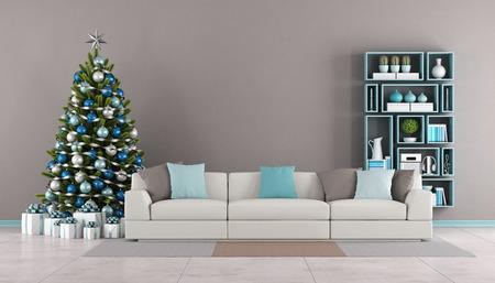 Moderne Wohnzimmer mit Weihnachtsbaum, Sofa und Bücherregal an der Wand - 3D-Rendering