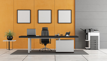 fotocopiadora: Gray and orange modern office with concrete wall ,desk and photocopier- 3d rendering Foto de archivo