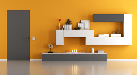 Modern living room with ecological fireplace and closed door - 3d rendering Imagens