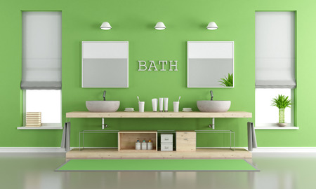 washbasins: Green and gray contemporary bathroom with two washbasins and windows - 3d rendering