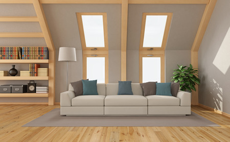 mansard: Modern Living room in the attic with contemporary sofa and windows - 3d rendering