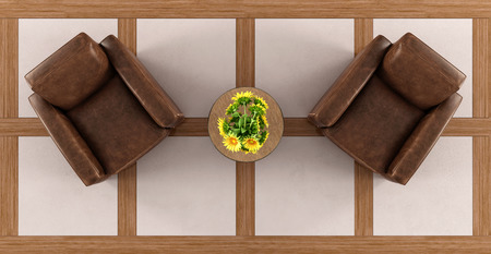 Top view of a vintage living room with two armchairs coffee table and sunflower - 3d rendering Stock Photo