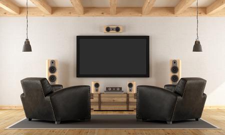 equipo de sonido: Sitio de la vendimia con el sistema de cine en casa contemporánea - representación 3d Foto de archivo