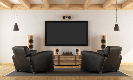 home design: Vintage room with contemporary home cinema system - 3d rendering
