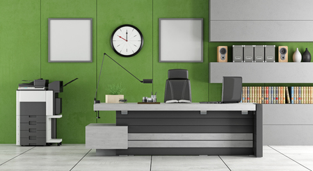 photocopier: Green and gray contemporary office - 3d rendering Stock Photo