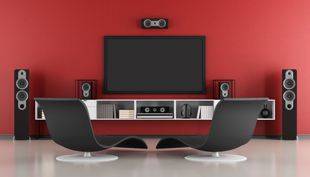 home theatre: Red and black Contemporary home cinema - 3d rendering