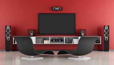 Rouge et noir home cinéma contemporain - rendu 3d Banque d'images - 63247355