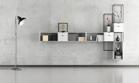 Black and white minimalist lounge with modern bookcase on concrete wall - 3d rendering