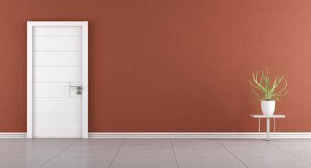 Leere modernen Raum mit weißen geschlossenen Tür - 3D-Rendering