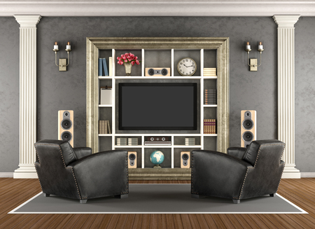 pilaster: Classic interior with home cinema system - 3d rendering