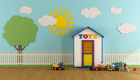 Playroom with small wooden house toys - 3d rendering Stok Fotoğraf