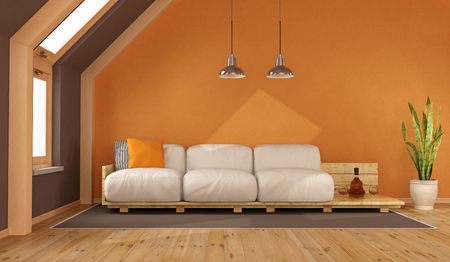 Orange living room in the attic with pallet sofa - 3d rendering