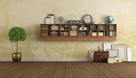 Vintage salon avec bibliothèque et décoration d'objets en bois - Rendu 3D