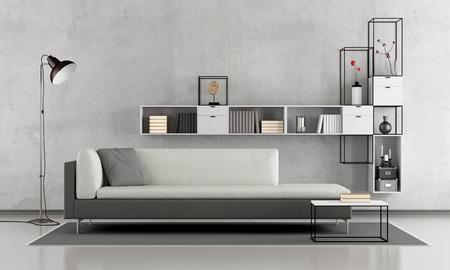 黒と白のシンプルなラウンジ ソファ付けコンクリート壁 3 d レンダリングにモダンな本棚 写真素材