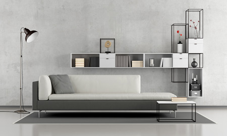 Black and white minimalist lounge with sofa and modern bookcase on concrete wall - 3d rendering