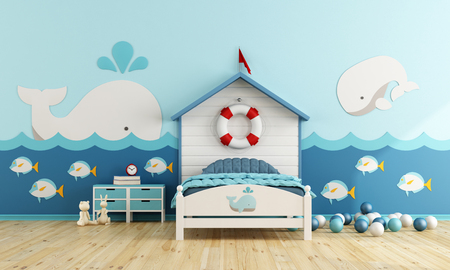 room decor: Kids room in marine style with toys - 3d rendering