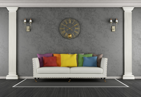pilaster: Classic living room with colorful sofa and black stucco wall - 3d rendering