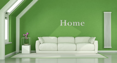 Green Living Room In The Attic With White Sofa And Vertical Heater   3d  Rendering Stock