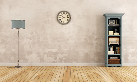 Empty old room with bookcase,floor lamp and clock - 3d rendering