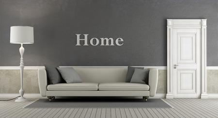 puertas de madera: salón de la vendimia gris con la puerta cerrada y elegante sofá - representación 3d Foto de archivo