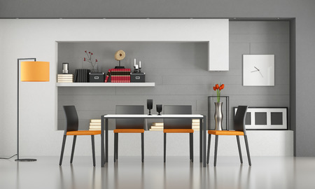 dining table and chairs: Contemporary dining room with minimalist table and chairs - 3d rendering
