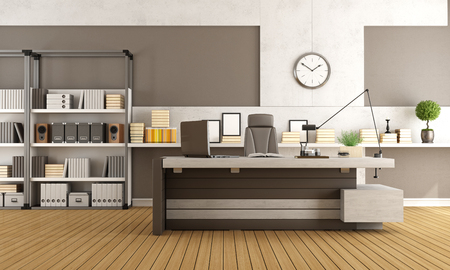 Study Desk: Modern ofiice space with desk,bookcase and concrete panel - 3d rendering