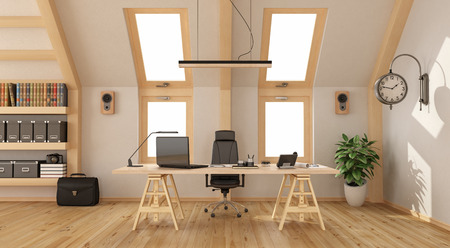 Modern office in the attic with wooden desk, bookcase and two windows - 3d rendering