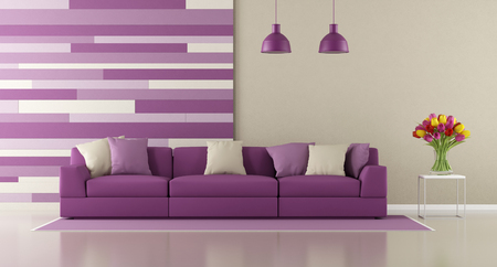 room wall: Contemporary purple living room with sofa and decorative panel on wall - 3d rendering