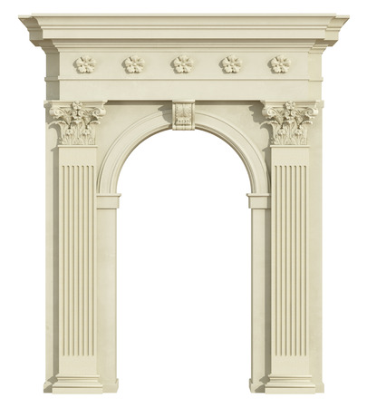 column: Front view of a classic arch with Corinthian column isolated on white - 3d Rendering