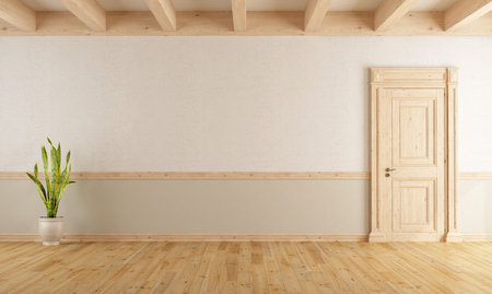 Empty living room with wooden closed door, parquet and sunbeams - 3d rendering Stock Photo