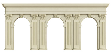 corinthian column: Classic colonnade with arch and corinthian column isolated on white - 3d rendering