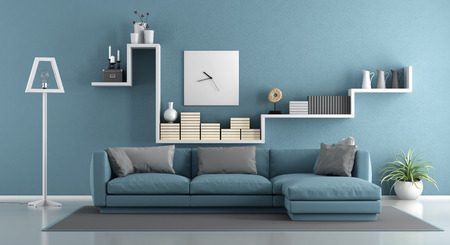 Blue living room with sofa and shelf - 3d rendering 스톡 콘텐츠