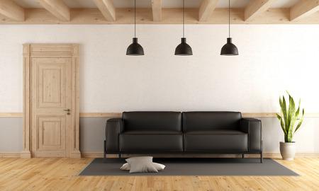 Wohnzimmer mit Holz geschlossene Tür, schwarze Ledercouch, Parkett und Sonnenstrahlen - 3D-Rendering