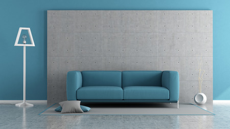blue wall: Blue modern living room with concrete panel and sofa on carpet - 3d rendering Stock Photo