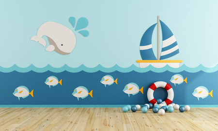 Playroom in marine style without furniture - 3d rendering Stok Fotoğraf