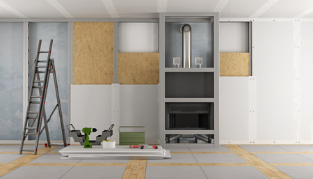 Renovation of an old house and fireplace paneling with drywall panels 3d rendering Foto de archivo