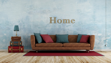 vintage living room: Old room with colorful leather suitcases,sofa ,blue wall and wooden floor - 3d rendering