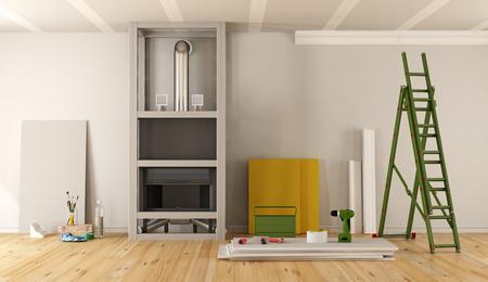 暖炉のある家の改修は、石膏ボードの 3 d レンダリングで覆われています。
