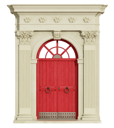 corinthian column: Classic arch with Corinthian column and red front door - 3d Rendering
