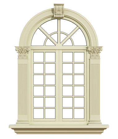 corinthian column: Classic arch window with corinthian column isolated on white - 3d rendering