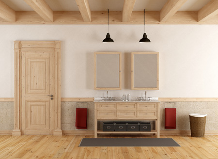 double sink: Bathroom in rustic style with double sink and closed door - 3d rendering