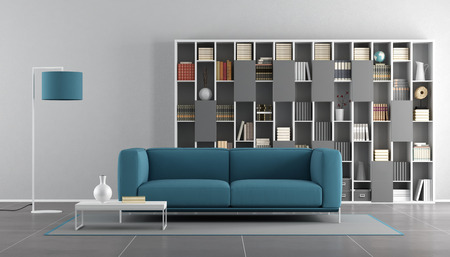 living room sofa: Blue and gray modern living room with sofa and bookcase - 3d rendering
